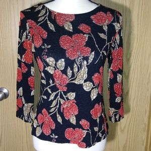 Notations Holiday Floral Lace Blouse Top Shirt